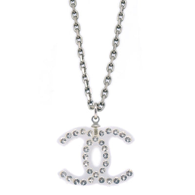 CHANEL Rhinestone Silver Chain Pendant Necklace 05P