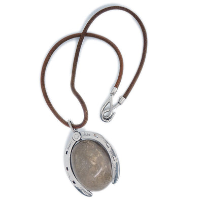 HERMES Stone Pendant Necklace Silver Brown Leather