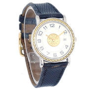 Hermes Sellier Date Ladies Quartz Wristwatch Lizard skin Black