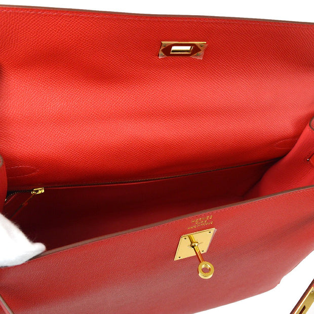 HERMES KELLY 35 SELLIER 2WAY Hand Shoulder Bag Bougainvillier Veau Epsom