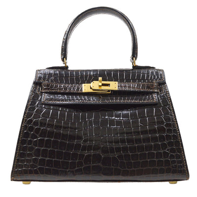 HERMES MINI KELLY 20 2way Hand Shoulder Bag Porosus Crocodile Skin Brown