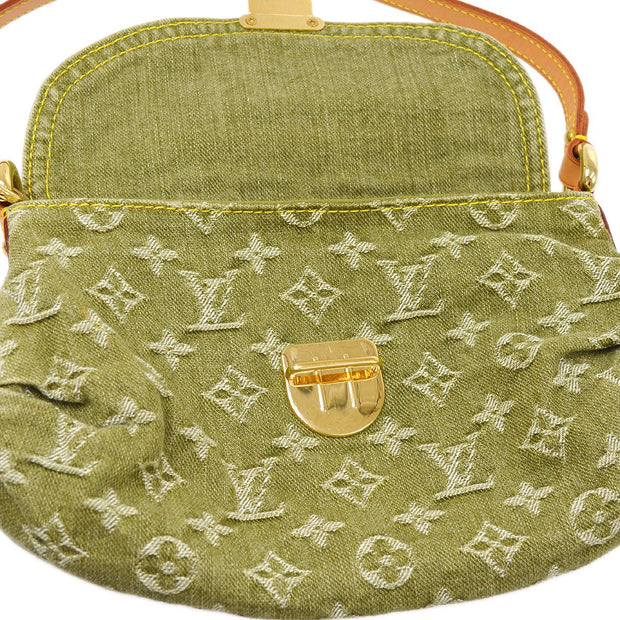 LOUIS VUITTON MINI PLEATY HAND BAG LICHEN GREEN DENIM M95217