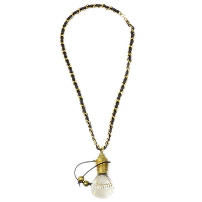 RARE!! CHANEL CC Light Bulb Gold Chain Pendant Necklace 94P
