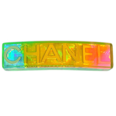 CHANEL Hair Clip Hairpin Barrette Rainbow Plastic 97A