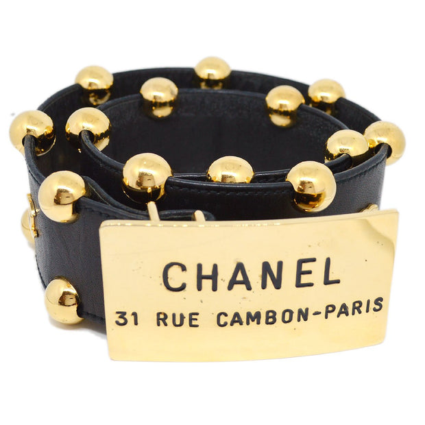 CHANEL Buckle Belt Black Gold #70/28 Small Good