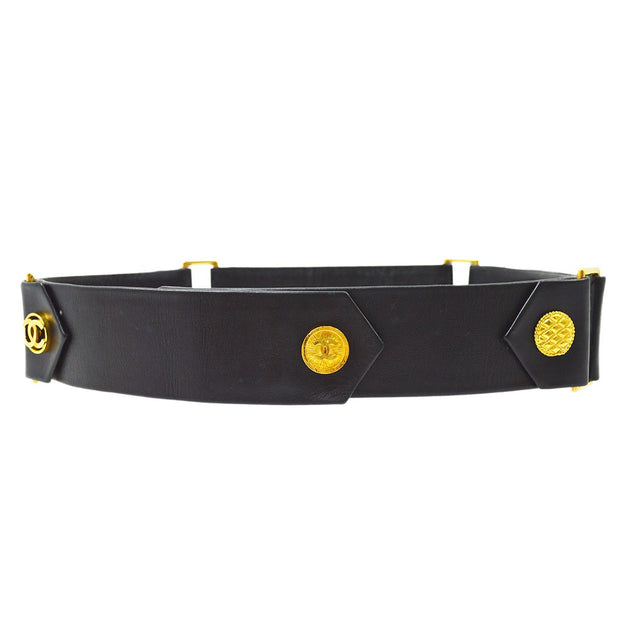 CHANEL Buckle Belt Black Gold #80/32 29 SMALL GOOD
