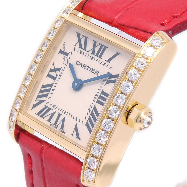 Cartier TANK FRANCAISE 2385 Ladies Quartz Wristwatch Diamond Bezel YG750