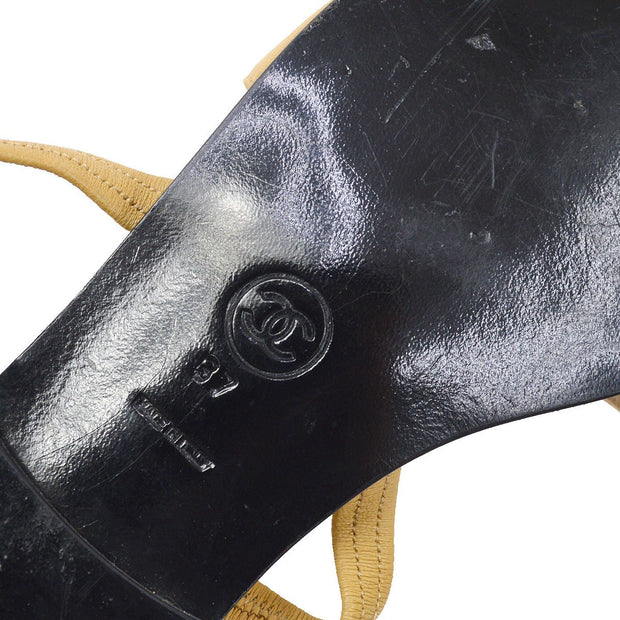 CHANEL Back Strap Shoes Sandals Brown #37 SMALL GOOD