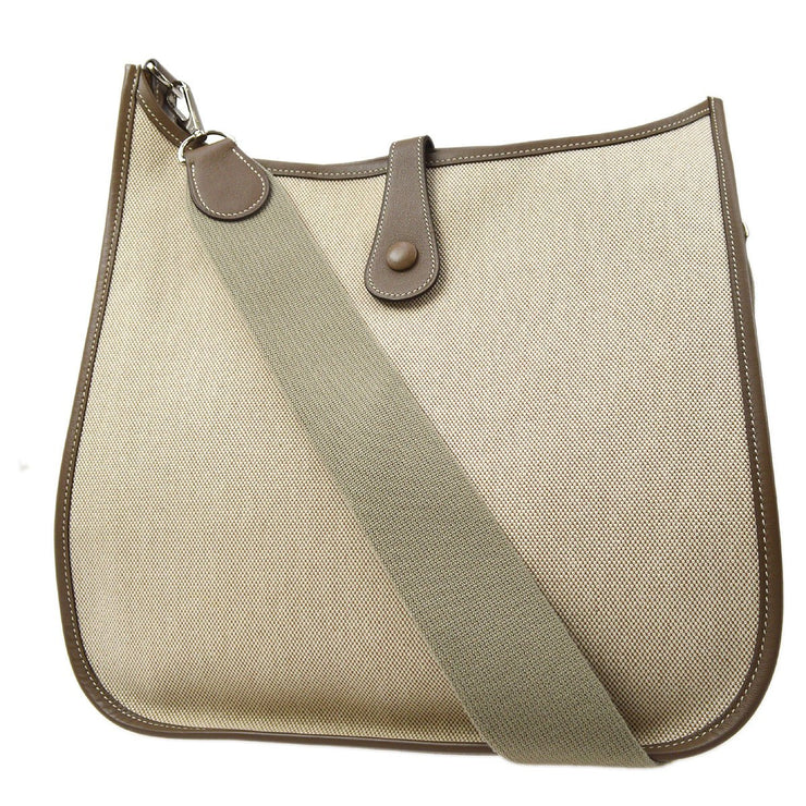 HERMES EVELYNE GM Shoulder Bag Beige Brown Toile H Veau Epsom