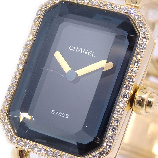 CHANEL Premiere Ladies Quartz Wristwatch #L Diamond Bezel K18 YG750