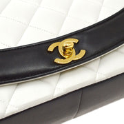 CHANEL Medium Diana Chain Shoulder Bag Bi-Color White Black