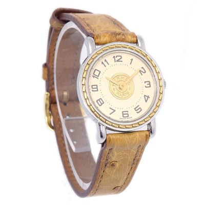 HERMES Sellier Ladies Quartz Wristwatch Watch Ostrich