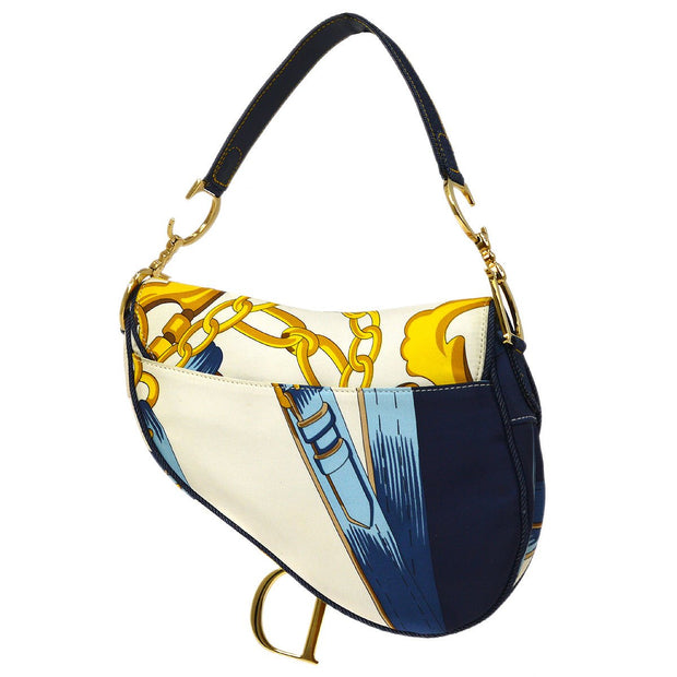 Christian Dior Chain Print Saddle Hand Bag White Indigo Nylon Denim