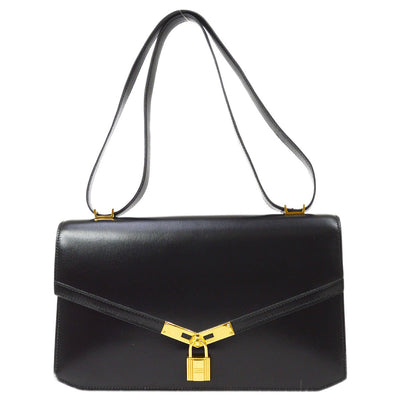 HERMES CADENA LOCK Shoulder Bag Black Box Calf