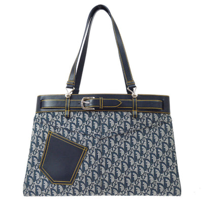 Christian Dior Trotter Pattern Hand Tote Bag Navy