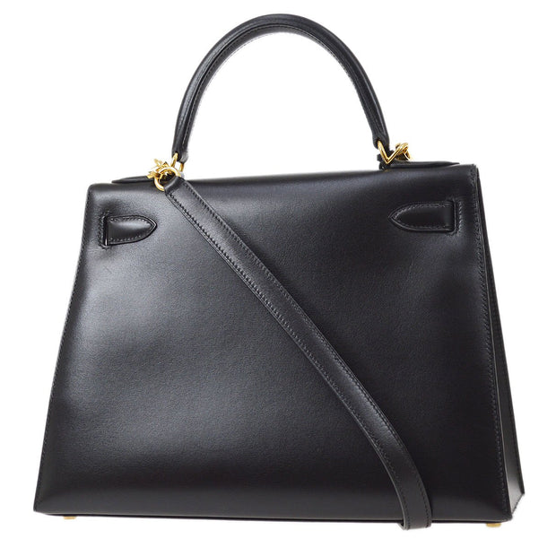 HERMES KELLY 28 SELLIER 2way Hand Shoulder Bag Black Box Calf