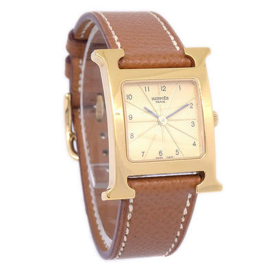 Hermes H Watch HH1.201 Ladies Quartz Wristwatch Couchevel Brown