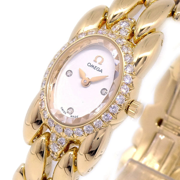 OMEGA Sapphette Ladies Quartz Wristwatch Watch Diamond Bezel 3PD YG750