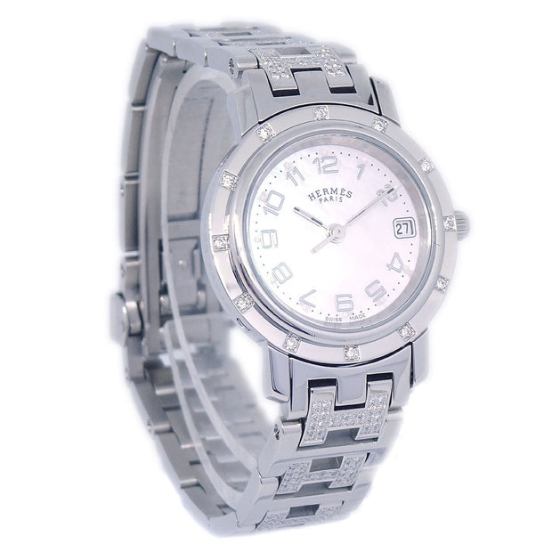 HERMES Clipper Nacre CL4.230 Ladies Quartz Wristwatch 12PD
