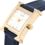 Hermes H Watch HH1.101 Ladies Quartz Wristwatch Watch Epsom Black
