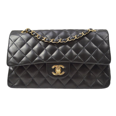 CHANEL Classic Double Flap Medium Shoulder Bag Black