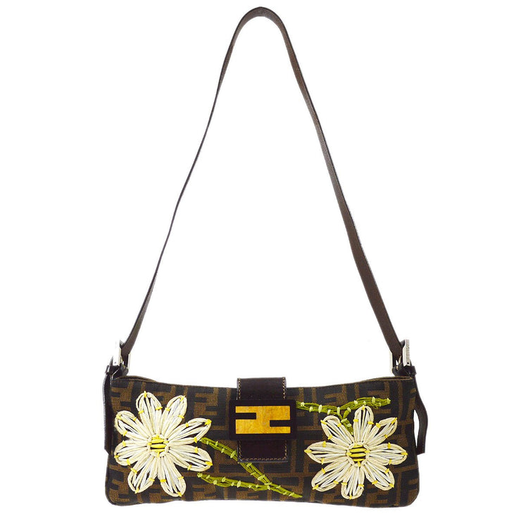 FENDI Zucca Flower Embroidery Shoulder Bag Brown