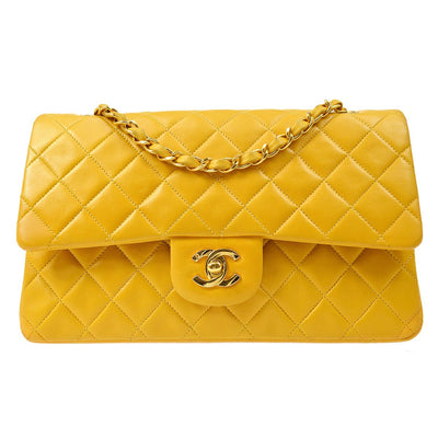 CHANEL Classic Double Flap Medium Chain Shoulder Bag Yellow