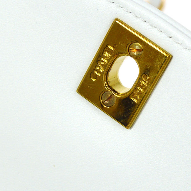 CHANEL Medium Diana Single Chain Shoulder Bag White