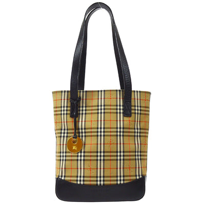 BURBERRY Horse Check Hand Tote Bag Beige