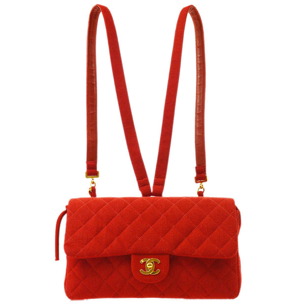 CHANEL Quilted CC Chain Backpack Bag 3745447 Purse Red Cotton