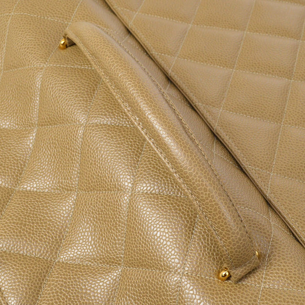 CHANEL Quilted Briefcase Business Hand Bag Brown Caviar Skin