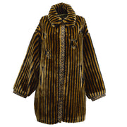 FENDI Pequin Fur Coat Brown
