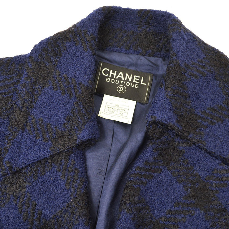 CHANEL 96A #42 Double Breasted Tweed Jacket Blue