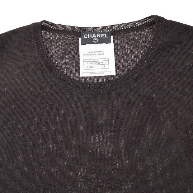 CHANEL 01A #38 Sleeveless Tops Dark Brown