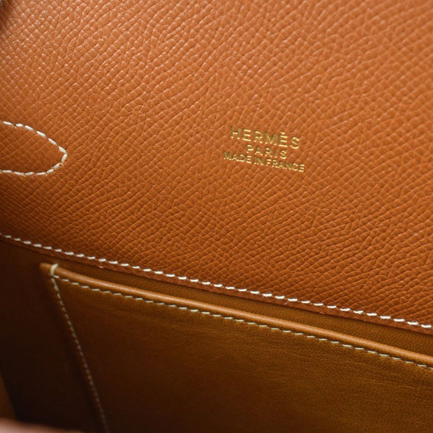 HERMES KELLY SPORT MM Shoulder Bag Brown Veau Greine Couchevel