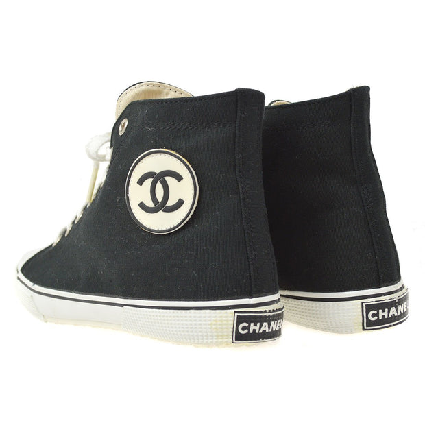 CHANEL High Cut Sneakers String Shoes Black #37