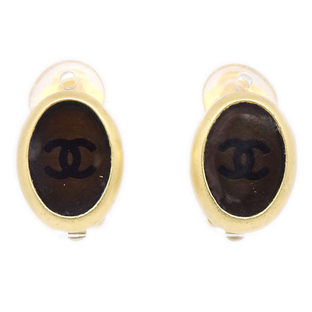 CHANEL Earrings Clip-On Gold Brown 99A