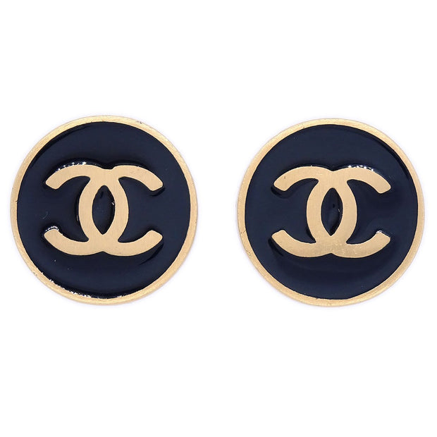 CHANEL Button Earrings Gold Black 01P