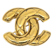 CHANEL Quilted CC Brooch Pin Corsage Gold 1142