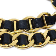 CHANEL Gold Chain Belt Black 95A