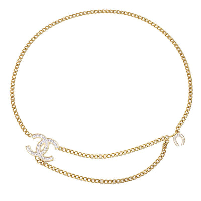 CHANEL Rhinestone Gold Chain Belt 02A