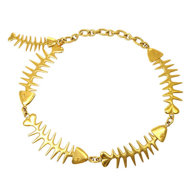 CHANEL Fish Bone Gold Chain Belt 93P