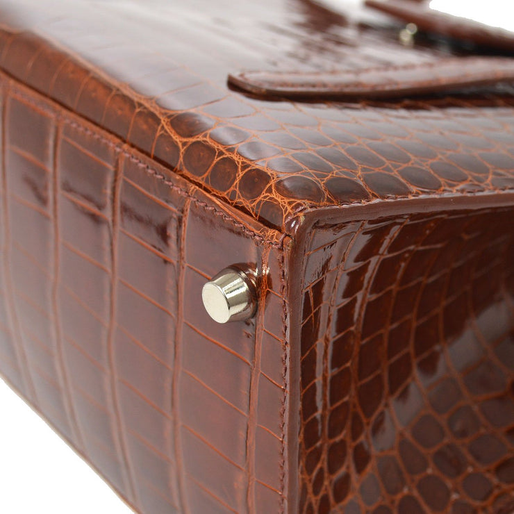 HERMES LIN 30 Hand Tote Bag Brown Crocodile Porosus