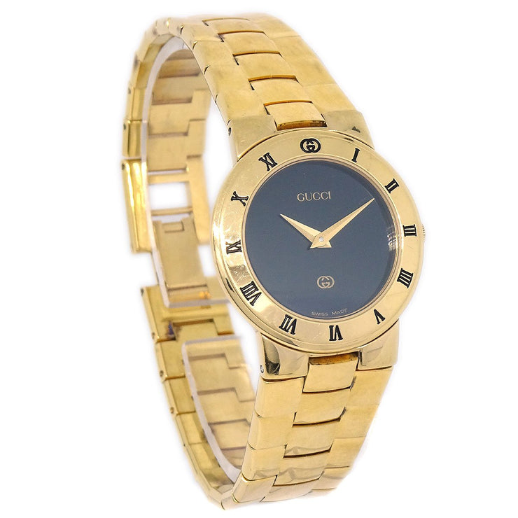 GUCCI 3300L Ladies Quartz Wristwatch Watch Gold plated