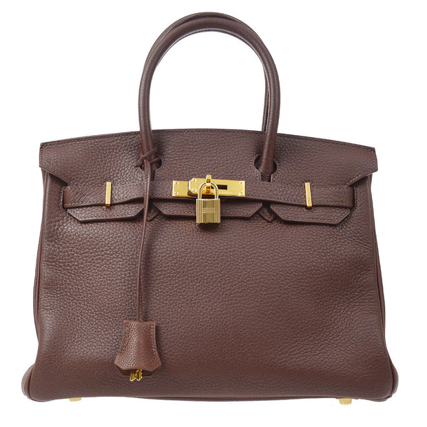 HERMES BIRKIN 30 Hand Bag Brown Traurillon Clemence