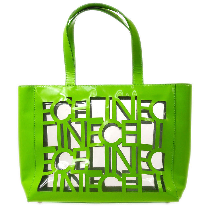CELINE Hand Tote Bag Green Clear Vinyl