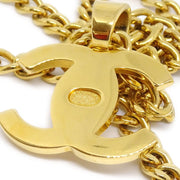 CHANEL 96A Turnlock Charm Gold Chain Pendant Necklace