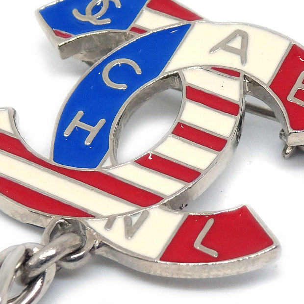 CHANEL CC National Flag Brooch Pin Corsage Silver 03A