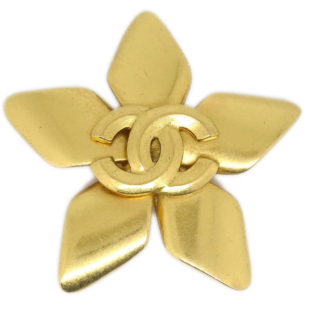 CHANEL Flower Brooch Pin Corsage Gold 96P