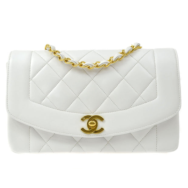 CHANEL Small DIANA Single Chain Shoulder Bag White